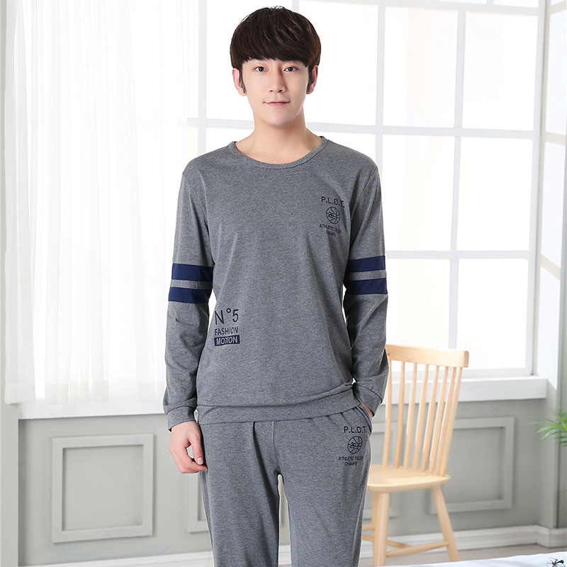 High Quality Long Sleeve Homewear Cotton Pajama Sets For Men 2018 Autumn Winter Casual Striped O-neck Pyjama Male Lounge Clothes