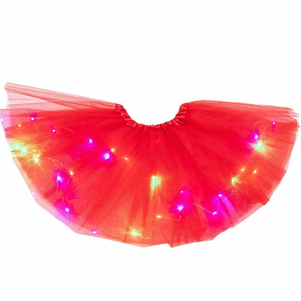Falda tutú de bebé para niñas, disfraz de fantasía, luz LED, falda de Ballet, Linda falda de bebé luminiscente, ropa infantil, menina