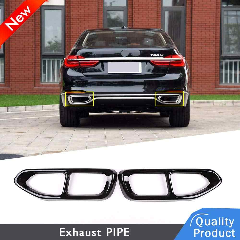 JTAccord Stainless Steel Tail Throat Pipe Modified Cover Trim for BMW 7 Series F01 2009-2014,Car Exhaust Pipe Decorative Frame Tail Pipe Cover,Car Accessories