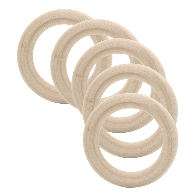 Natural Wood Circle Ring Pendant Connectors Jewelry Making Findings DIY 90mm New