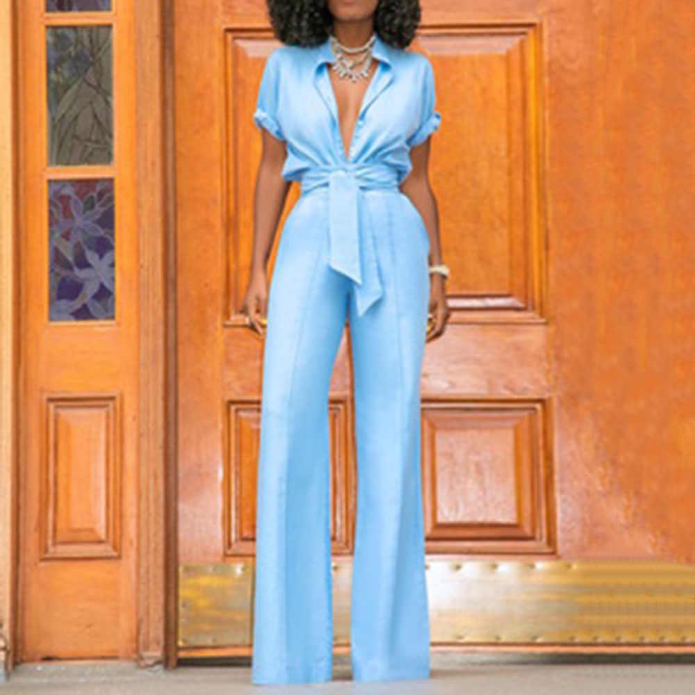 Las Mujeres Sexy Conjuntos De Dos Piezas Camisa Corta Bolsillo Recto Ancho Pierna Pantalones Oficina Dama Joven Africana Moda Mujer Traje De Otono Aliexpress