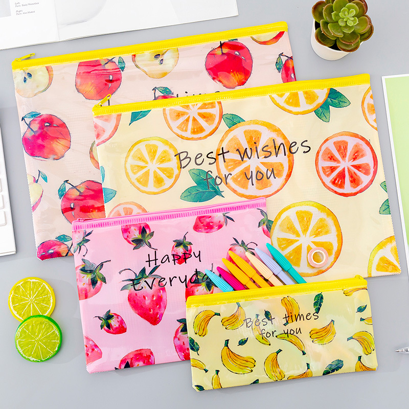 Creative Fruit A4 File Holder Cute PVC Document Bag Pencil Case Korean Stationery Office School Supplies