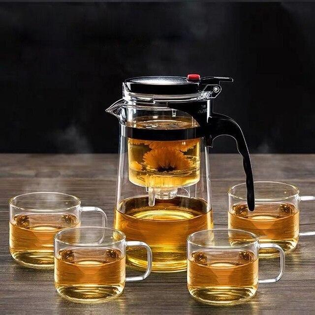 Théière en verre résistant à la chaleur, tasses de thé, 4