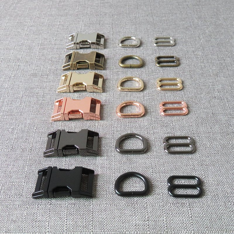 Details about  /Portable Metal Slider Straps 1 Set Strong Buckle For Paracord Pet Collar Kits