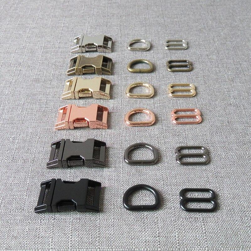 1 zestaw 15mm 20mm 25mm paski metalowe suwak D pierścień zwolnienie klamry pasa dla obroża dla psa akcesoria krawieckie paracord silny sprzęt