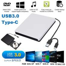 Usb 3.0 tipo-c gravador de gravador de dvd externo dvd rw unidade óptica cd/dvd rom reprodutor macs os windows xp/7/8/10