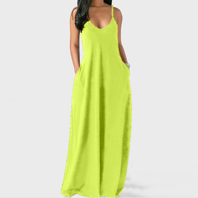 Fashion women's summer dress sexy large size solid color sleeveless O-neck pocket camisole long dress женское платье 50* 2