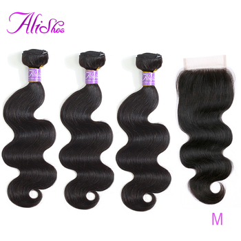 цена на Alishes 100% Human Hair Bundles With Closure Peruvian Hair Body Wave 3 Bundles With Lace Closure Free Middle 3 Part Remy Hair