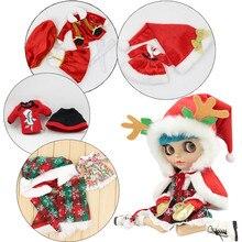 Roupas para blyth boneca feliz natal roupas papai noel natal elk terno para 1/6 bjd azone gelo dbsBonecas