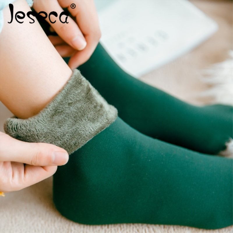 Jeseca Warm Female Male Socks Thicken Thermal Wool Cashmere Snow Winter Socks Unisex Seamless Velvet Boots Floor Sleeping Socks