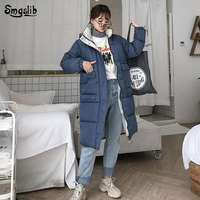 2019 jacket women winter Hooded Ladies Coat Asymmetric Length Coats solid Parka oversize Colour jacket mid long thick down