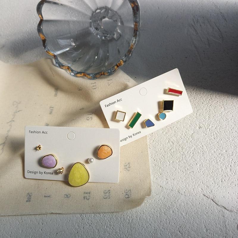 Japan and Korea joker 3 sets earrings fashionable temperament women drop oil earrings geometric new earrings