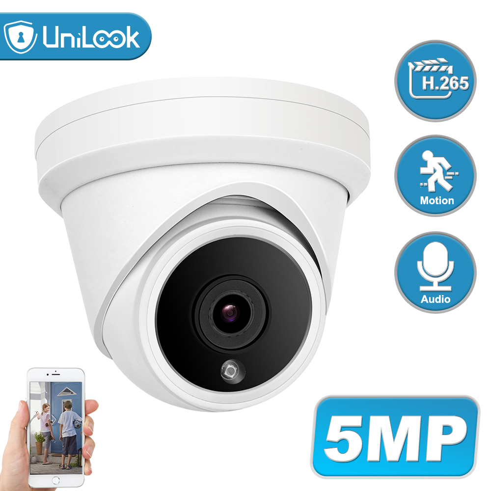 UniLook 5MP Turret POE IP Camera Built In Microphone CCTV Security Camera Hikvision Compatible ONVIF IP66 IR 30m H.265