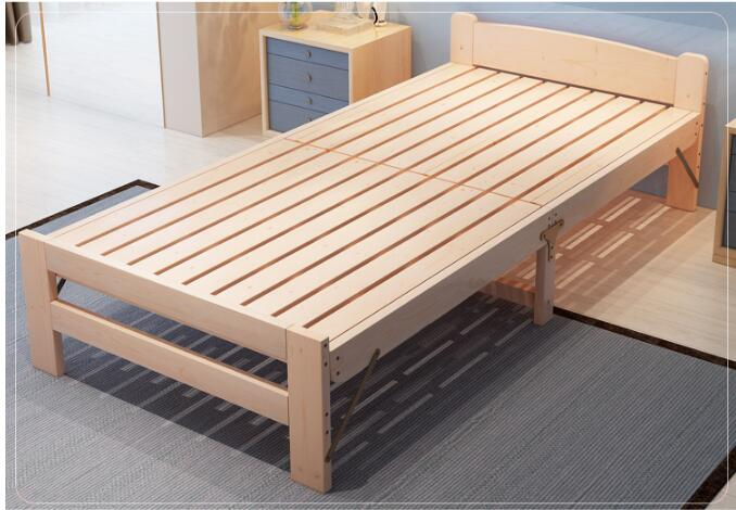 Folding Bed Simple Queen Bed Adult Wooden Bed Military Bed Reinforcement Lunch Rest Bed 90cm 1 Meter Solid Wood Bed