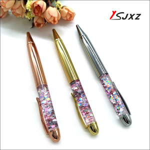 luxury crystal pen with rose gold diamond ballpoint metal Brass pens stationery writing for school office gift(China)