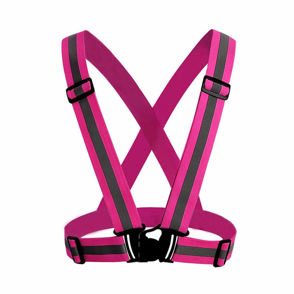 2019 nuevo equipo de deportes al aire libre visibilidad Chaleco de neón cinturón reflectante Chaleco de seguridad apto para correr deportes de ciclismo