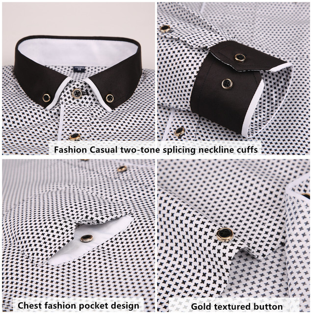 Fashion Men's Printed Long Sleeved Casual Shirt 2019 New Male Social Slim Fit Collar Button Stitching Design