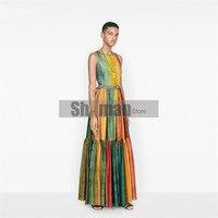 luxury designer 2020 women Celebrity Inspired Rainbow Color Sleeveless Expandable Holiday Style Sexy Backless Dress