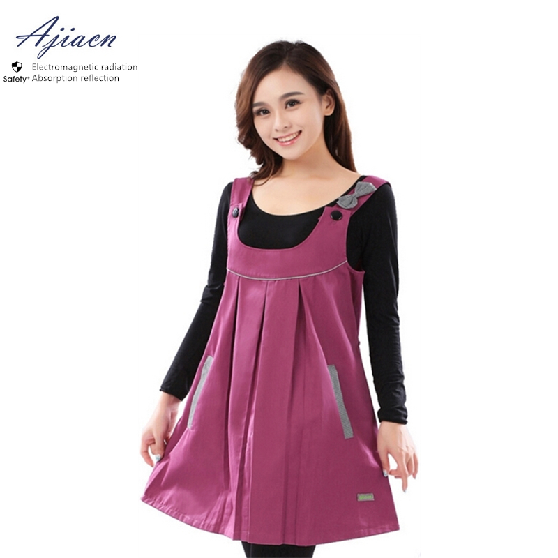 Electromagnetic Radiation Protective Pregnant Women Clothing  Shoulder Strap Extension Style EMF Shielding Metal Fiber Dress