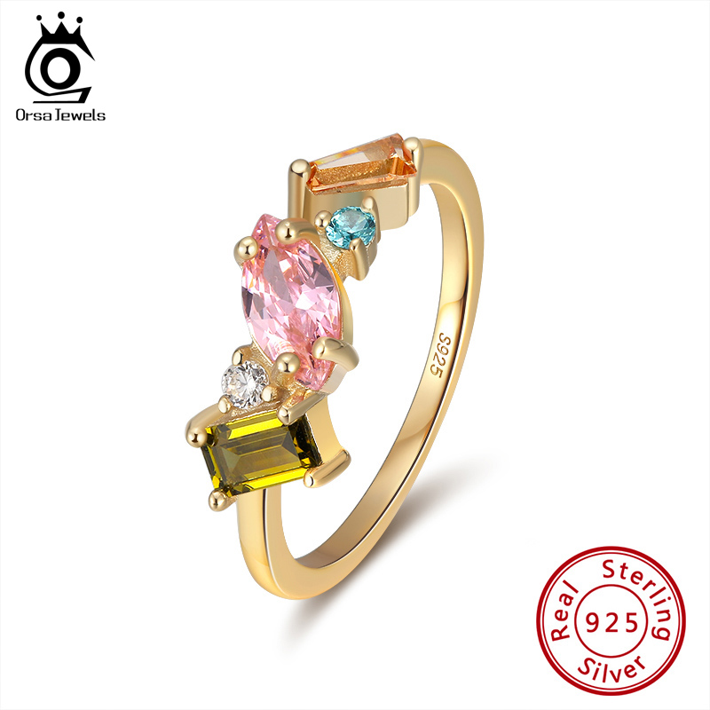 ORSA JEWELS Delicate 925 Silver Wedding Rings for Female with Multi Color Big Crystal Zircon Jewelry Party Gift Wholesale OSR208Rings   -