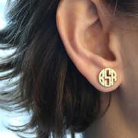 Monogramme personnalisé boucles d'oreilles pour femmes Boucle D'oreille personnalisé en acier inoxydable initiales lettres boucles d'oreilles bijoux de mode