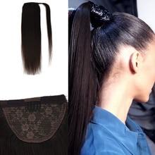 "Neitsi düz insan saçı at kuyruğu 100% doğal makine yapımı Remy klip gerçek at kuyruğu saç ekleme 12 ""16"" 20"""