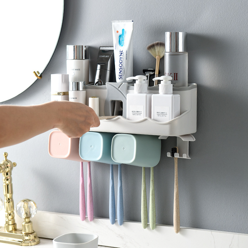 Toothbrush Holder Bathroom Accessories Set Wall Mounted Automatic Toothpaste Dispenser with Toothbrush Cup home Bathroom Set in Bathroom Accessories Sets from Home Garden