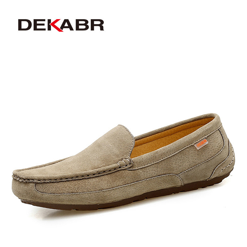 DEKABR Brand 2019 New Men Loafers Breathable Genuine Leather Shoes For Man Driving Shoes Moccasins Business Boat Top Men Shoes
