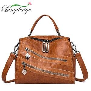 Image 1 - Luksusowy podwójny zamek błyskawiczny torebki damskie torebki projektant marki kobiece torby na ramię Crossbody dla kobiet skóra Sac główna torebka damska
