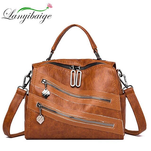 Luksusowy podwójny zamek błyskawiczny torebki damskie torebki projektant marki kobiece torby na ramię Crossbody dla kobiet skóra Sac główna torebka damska