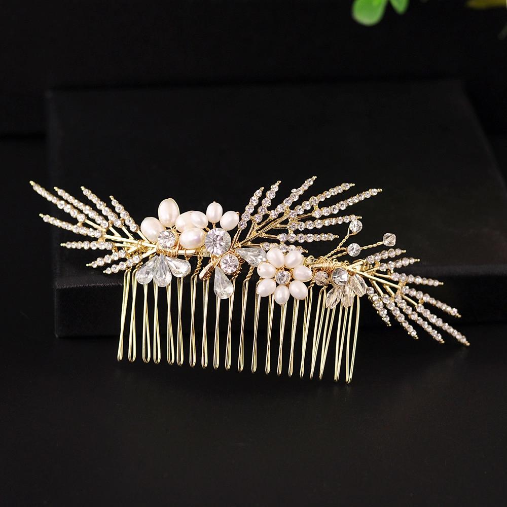 TRiXY H01- Set Rhinestone Bridal Tiara Wedding Clips Golden Wedding Hair Accessories Wedding Hair Jewelry Bridal Hair Pins