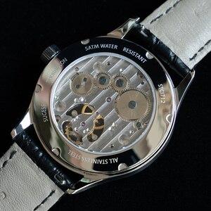Image 5 - Top Merk Luxe Tourbillon Mens Mechanische Horloges Mode Krokodil Lederen Mannen Tourbillon Horloge 50M Waterdicht 1963