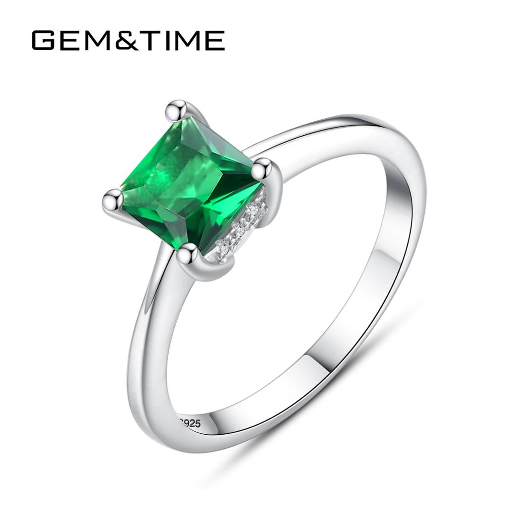 Gem&Time Vintage Emerald Square Gemstone Ring 100% Sterling 925 Silver Wedding Engagement Ring For Women Anniversary Jewelry