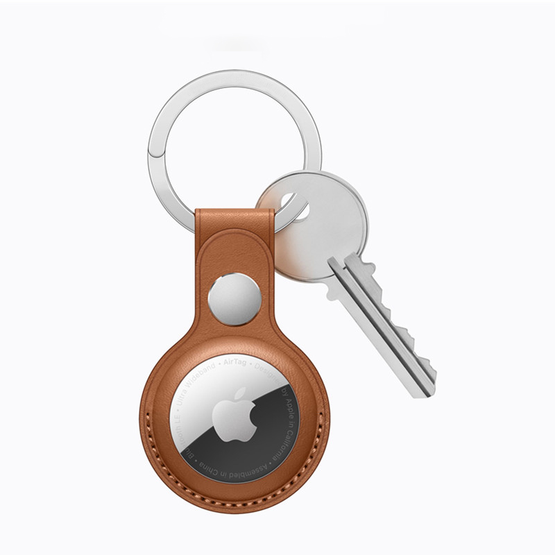 PU Leather Case Key Ring for AirTag Protective Keychain Sleeve Cover for Apple Air Tag Location Tracker Anti-lost Accessory