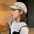 Новинка, осенне-зимние шапки для женщин, однотонная простая восьмиугольная кепка газетчика, мужская и женская повседневная шерстяная шапка...