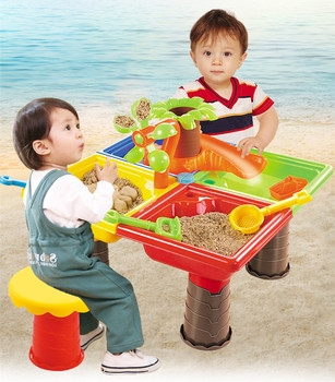 New Children Beach Table Play Sand Toy Pool Set Water Dredging Tools Outdoor Sand Toys Kids 25pcs set kids colorful beach sand mold play set outdoor backyard sandpit toy interactive games