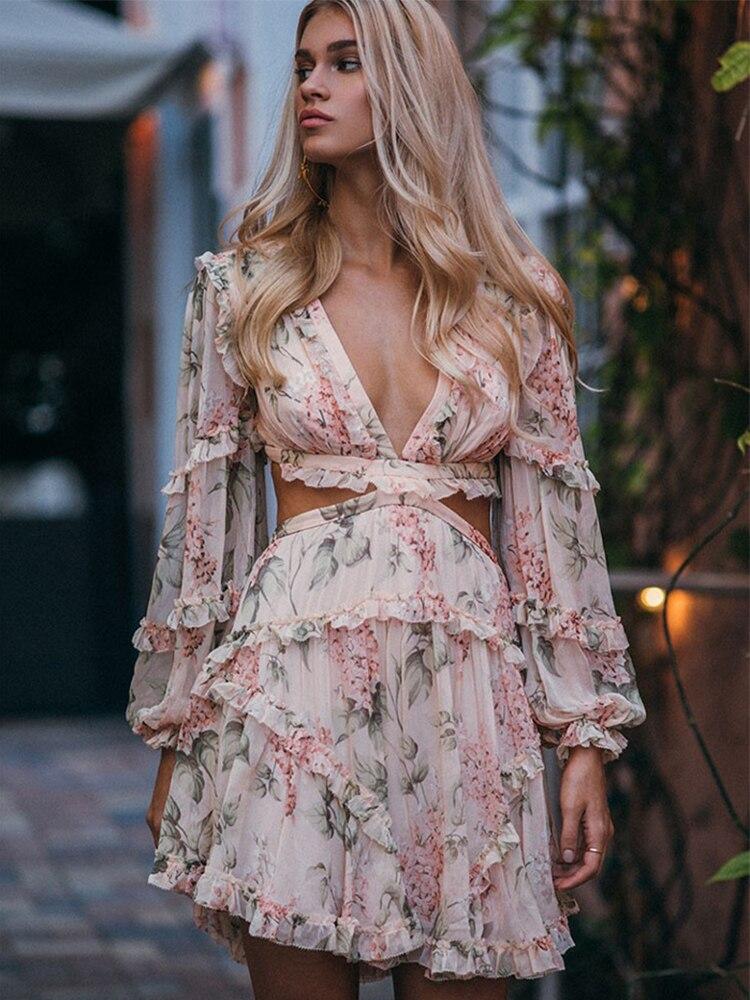 Imprimé Floral femmes robe Sexy profonde V dos nu robes évider à manches longues plage Mini robe élégante volants robes d'été