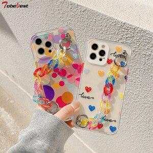 Image 1 - Tobebest Liefde Hart Armband Telefoon Gevallen Voor Iphone 12 Pro Max 11 Promax X Xs Xr 7 8 Plus Se 2020 Kleurrijke Ketting Soft Cover