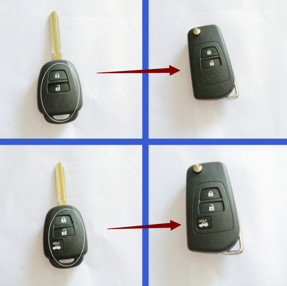 Modified flip Remote Car <font><b>Key</b></font> Shell for <font><b>Toyota</b></font> Camry Corolla 2012 2013 <font><b>2014</b></font> 2015 2016 2017 <font><b>RAV4</b></font> Prius <font><b>Key</b></font> <font><b>Case</b></font> TOY43 2/3 Buttons image
