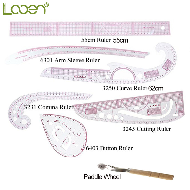 Multi Function Looen Curve Ruler Drawing Line Straight Sewing Clothing Rulers Sleeve Arm Curve Cutting Ruler Button Comma Set in Sewing Tools Accessory from Home Garden