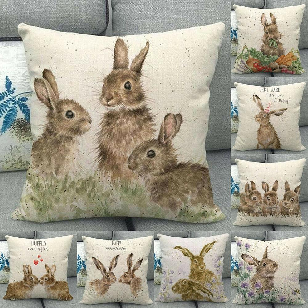 Square Cotton Linen Pillow Case Cute Rabbit Pattern Printing For Home Sofa Living Room Home Decoration Cushion Cover