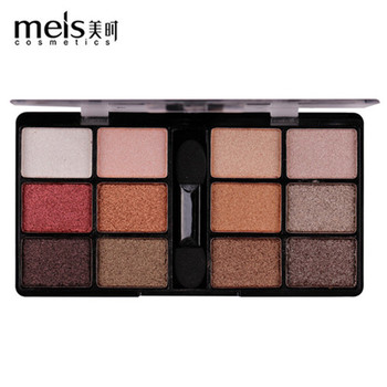 MEIS New Arrival Charming Eyeshadow 12 Color Eye shadow Palette Make up Palette Shimmer Pigmented EyeShadow Powder Fashion Color цена 2017