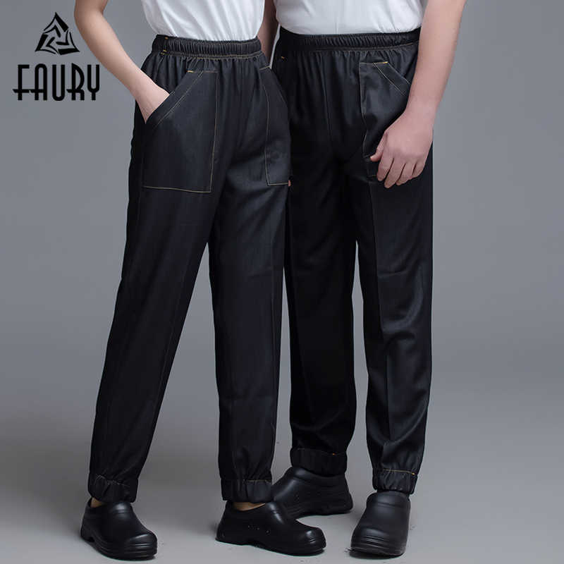 Men Women Chef Pants Stretch Denim Fabric Long Trousers Kitchen Cook Clothes Cozinha Hotel Restaurant Hairdresser Work Overalls Bottoms Aliexpress