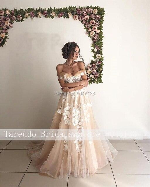 Formal Strapless 3D Ivory Appliques & Champagne Tulle A Line Wedding Dresses 2021 Royal Off Shoulder Nude Vestido de Noiva 4