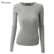Women Sweaters Spring Autumn New Fashion Long Sleeve Base Pullover Tops Elasticity Slim Casual Female knitted Sweater Woman