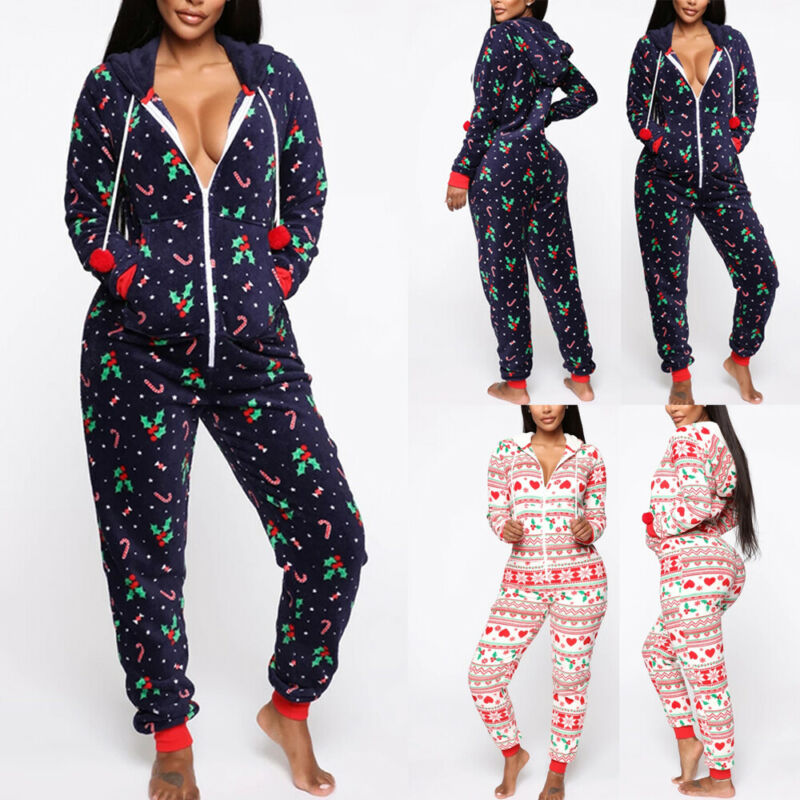 Brand New Women's Christmas Pajamas Print Sleepwear Xmas Hooded Nightwear Hooded Jumpsuit Pajamas