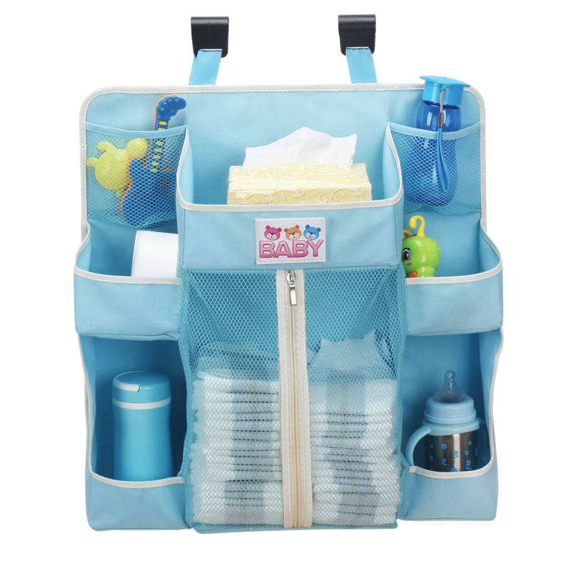 Portable Baby Crib Organizer Bed Hanging Bag For Baby Diapers Storage Bed Accessories Essentials Diaper Storage