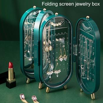 40# Folding Jewelry Storage Box Multi-compartment Visible Jewelry Multilayer Jewelry Storage Organizer Dustproof Makeup Holder