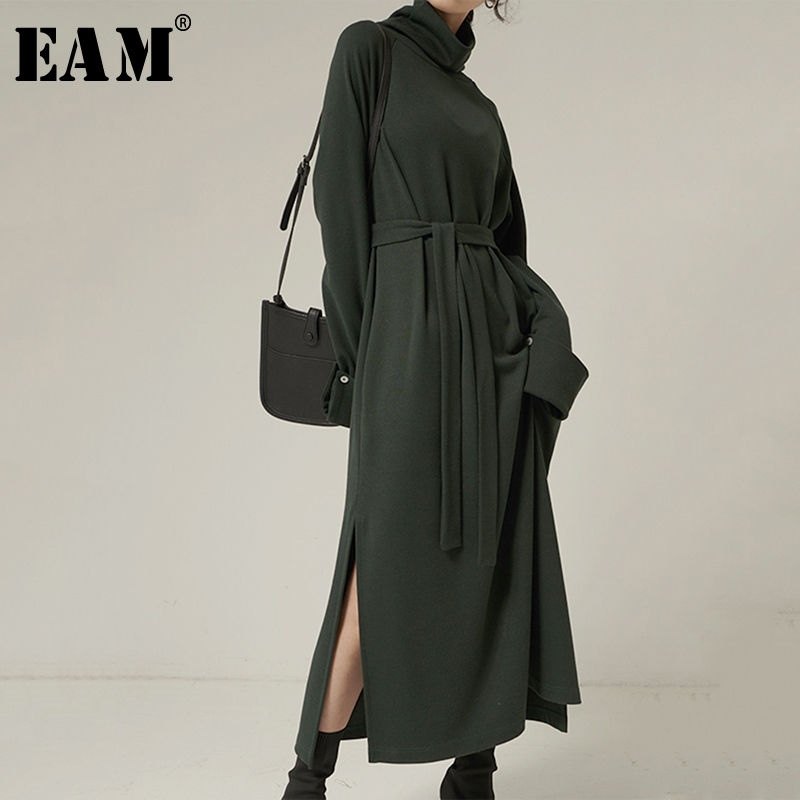 [EAM] Women Green Vent Split Temperament Dress New Turtleneck Long Sleeve Loose Fit Fashion Tide Spring Autumn 2020 1N986