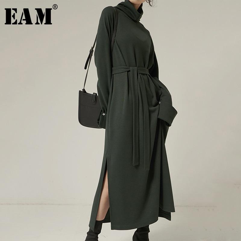 [EAM] Women Green Vent Split Temperament Dress New Turtleneck Long Sleeve Loose Fit Fashion Tide Spring Autumn 2020 1N986